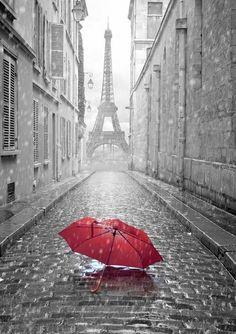 Rainy day gray sky background Eiffel Tower travel backdrop