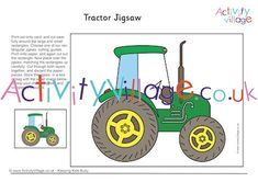 A printable tractor jigsaw for kids. Adapt for all ages. Tractor Coloring Pages, Colouring Pages, Tractor Crafts, Tractors For Kids, Activities For Kids, Crafts For Kids, Quiet Moments, Harvest, Printables