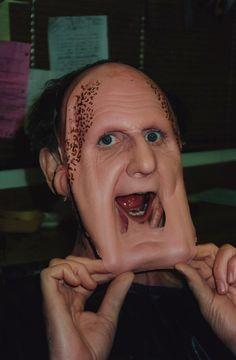 Odo as Curzon Dax removes his face. - Rene Auberjonois