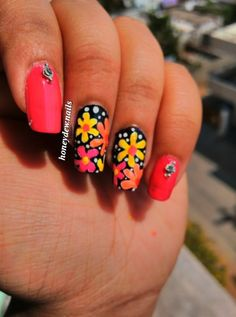 Nail art by honeydew:nails <3 colourful spring welcome. 2015. #nail #art #design #pink #orange #yellow #black #flowers #floral #spring #rhinestones