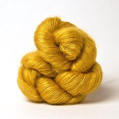 Shibui's Silk Cloud, a mohair and silk blend, in color Brass. LKnits.com