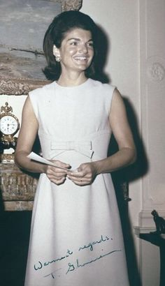 I found this picture on JFK Library, but it doesn't say what date or where it was taken. I think maybe around But anyway, I did recognize the Nina Ricci dress Jackie's wearing. Jackie Kennedy Style, Jacqueline Kennedy Onassis, Les Kennedy, John Kennedy, Jaqueline Kennedy, American First Ladies, Fashion History, Jfk, Marie