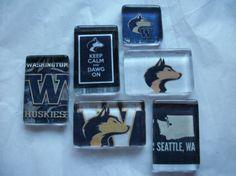6 University of Washington UW UDUB Huskies Glass by BadCatCraft