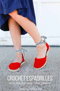 """Learn how to make crochet espadrilles with flip flop soles in this free pattern and tutorial from Make and Do Crew! These crochet sandals feature Lion Brand 24/7 Cotton in """"Red."""""""