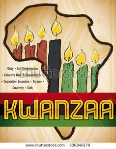 Traditional kwanzaa elements with corn candles and happy holiday poster with africa map silhouette and candles inside of it in hand drawn style with the m4hsunfo