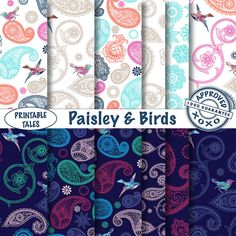 Paisly and Birds digital papers  night blue and door PrintableTales