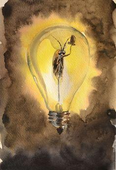 """Акварель """"Мистер Светлячок"""" - комбинированный, лампа, светлячок, теплая акварель, свет, картина акварелью"""