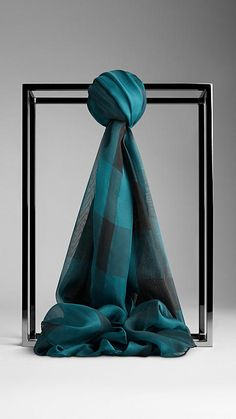 Burberry Teal Green Check Silk Chiffon Scarf - Silk chiffon scarf in a distinctive check. Discover the scarves collection at Burberry.com