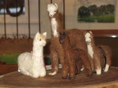 Needle felted alpacas from Cameron Mountain Alpacas