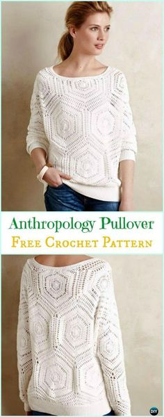 Crochet Anthropology Inspired Pullover Free Pattern - Crochet Women Sweater Pullover Top Free Patterns Source by clothes ideas Cardigan Au Crochet, Crochet Tunic Pattern, Gilet Crochet, Crochet Jacket, Knit Crochet, Crochet Tops, Crochet Womens Tops, Doilies Crochet, Crochet Blouse