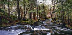 "Stevensville Brook after heavy Rainfall . 16"" X 8"" Acrylic on Canvas.  $590  #landscapeart #vermont #artist"