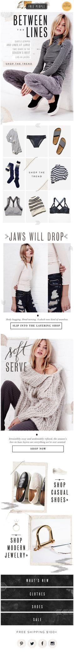 Free People : Grid + Trend Page Design, Book Design, Layout Design, Web Design, Newsletter Layout, Newsletter Design, Lookbook Layout, Email Design Inspiration, Fashion Banner