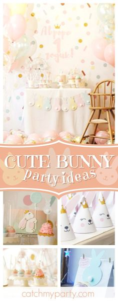 Don't miss this cute bunny confetti birthday party! The party hats are adorable!! See more party ideas and share yours at CatchMyParty.com #bunny #1stbirthday #girlbirthday