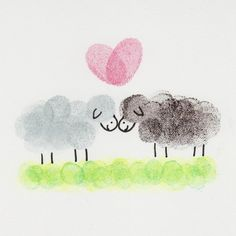 Sheep in Love Card by ThumbelinaCardCo on Etsy
