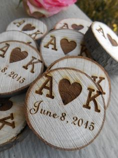 50 PERSONALIZED Initials Wood Rounds. Laser Cut by TreeTownPaper