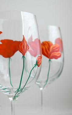California Poppy Wine Glasses
