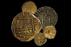 Coins from the pirate shipwreck the Whydah