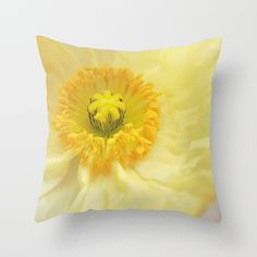 Icelandic Poppy Sweetness Throw Pillow. Great for a girly room, or a baby nursery decor. Perfect detail to add a splash of soft color to Spring and Summer Home Decor. Find this print in other products at my #society6 shop. Flowers, floral, yellow, canary yellow, pastels, petals, unique, poppy, champagne, cream, creme