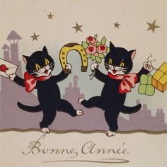 Dancing Kitty Kats Celebrate The New Year from atticink on Ruby Lane