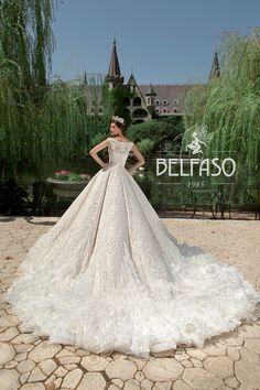 Unique White Embellished Cinderella Wedding Dress / Bridal Ball Gown with the Train by Belfaso Stunning Wedding Dresses, Bridal Dresses, Ball Gowns, Cinderella Wedding, Gown Dress, Formal Dresses, Unique, Train, Fashion