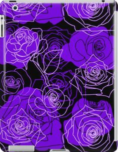 Enchantment - Purple Roses Floral Pattern | Design available for iPad Retina 2/3 & iPad Mini.