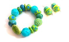 Buy Me on URCRafti.com! Turquoise and lime Bracelet- Summer Bracelet by Linda Dunn At least Pin Me so everyone can see!
