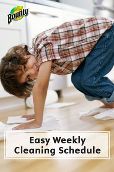 This Chore List for a Basic Weekly Cleaning Schedule makes cleaning your entire house a breeze! Bounty Paper Towels make this daunting task seem easy and manageable.