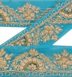 Antique-Vintage-Saree-Border-Hand-Beaded-Craft-Decor-Trims-1-5-W-Ribbon-Blue