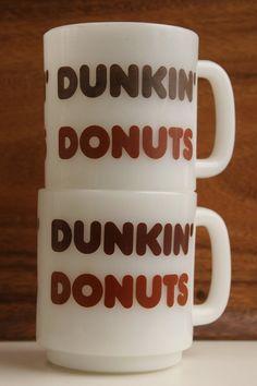 Dunkin Donuts Glasbake Milk Glass mug pair Dunkin Donuts, Doughnuts, Vintage Kitchen, Retro Vintage, Mister Donuts, Vintage Coffee, Pyrex, Milk Glass, Utensils
