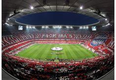 Allianz Arena, home of Bayern München. Soccer Stadium, Football Stadiums, Football Soccer, Fc Bayern Munich, World Football, Munich Germany, Baseball Field, Around The Worlds, San