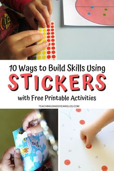 Learn how to build different important skills while using preschool stickers. This collection includes art, literacy, math and fine motor! #preschool #stickers #skills #finemotor #math #literacy #patterns #art #age2 #age3 #printable #teaching2and3yearolds Alphabet Activities, Motor Activities, Hands On Activities, Preschool Activities, Preschool Journals, Preschool Classroom, Letter Identification, Math Literacy, Math For Kids