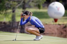 Sandra Gal Photos - Sandra Gal of Germany lines up a putt on the 18th hole during Round Two of the 2015 Volunteers of America North Texas Shootout Presented by JTBC at Las Colinas Country Club on May 1, 2015 in Irving, Texas. - Volunteers Of America North Texas Shootout - Round Two