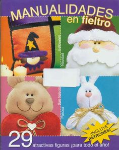 Revista de manualidades en fieltro Sewing Magazines, Felt Embroidery, Felt Dolls, Felt Art, Felt Ornaments, Jingle Bells, Quilt Making, Crafts To Make, Fabric Crafts