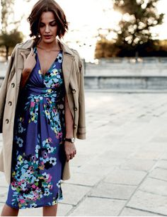 boden floral dress + trench.