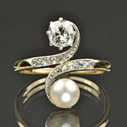 .85 carat diamond and cultured pearl ring