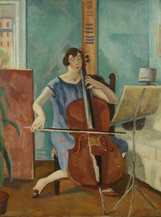 """huariqueje: """" The Cellist - Samuel Halpert Russian- American, oil on canvas, 102 x 77 cm. x 30 ¼ in. Music Painting, Music Artwork, Art Music, Art Deco Paintings, Russian American, Music Pictures, Classical Music, Oil On Canvas, Music Instruments"""