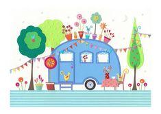 Settle - Fine Art Print - Retro Caravan