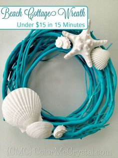 DIY Ideas & Tutorials for Nautical Home Decoration - DIY Beach Wreath Made From Spray Painted Branch And Seashell - Mermaid Crafts, Seashell Crafts, Beach Crafts, Diy Crafts, Beach Themed Crafts, Stick Crafts, Party Crafts, Cork Crafts, Crochet Crafts