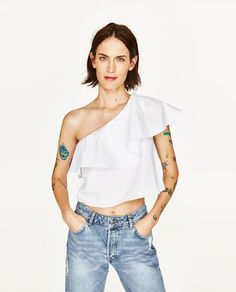 ASYMMETRIC TOP WITH FRILL-View All-TOPS-WOMAN | ZARA United States
