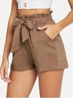 Casual Plain Straight Leg Regular Elastic Waist Mid Waist Brown Self Belted Ruffle Waist Shorts with Belt