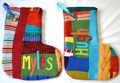Personalized Christmas Stocking Set of TWO by handmadepretties. Large Christmas Stockings, Large Christmas Tree, Christmas Colors, Christmas Ideas, Christmas Crafts, Xmas, Holiday Mood, Holiday Ideas, Project Ideas