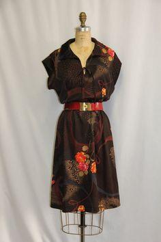 Plus Size Vintage Dress  Polka Dot Swirls and by SIZEisJUSTaNUMBER