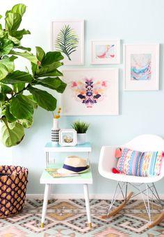 DIY Color Blocked Midcentury Side Table