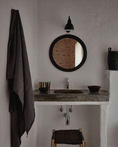 Rustic bathroom design, concrete bathroom built-in sink, stone tiles on bathroom floor, country bathroom, home in Ibiza Bad Inspiration, Bathroom Inspiration, Inspiration Boards, Rustic Bathrooms, Small Bathroom, Serene Bathroom, Small Bathtub, Downstairs Bathroom, Bathroom Ideas