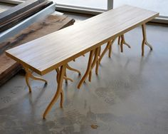 Modern Wood Bench - 'ROOTSY' series, contemporary design, nature inspired