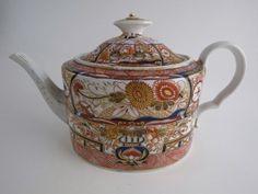 Coalport 'John Rose' straight-sided oval 'imari' decorated teapot, c1803