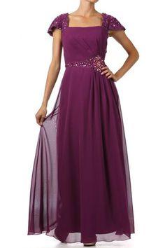 Modest Beaded Waist Cap Sleeve Square Neckline Chiffon Mother Dress