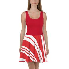 Candy Cane Skater Dress with Red Green Skirt, Christmas Party Dress, Striped, Holiday Outfit, Sizes Holiday Party Outfit Casual, Holiday Outfits, Pool Party Outfits, Party Dress, Red Party, Party Party, Ideas Party, Plus Size Christmas Dresses, Girls Birthday Party Themes