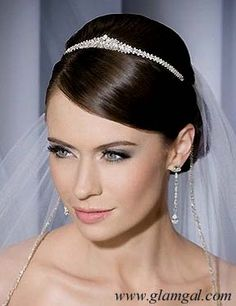 Small Bridal Tiara with baguettes and round crystals