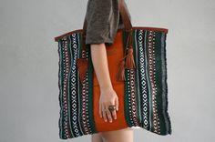 Tribal Large Travel Bag / Oversized Ethnic Tote by MudlandLeather